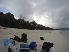 Unloading of gear at Whitehaven Beach